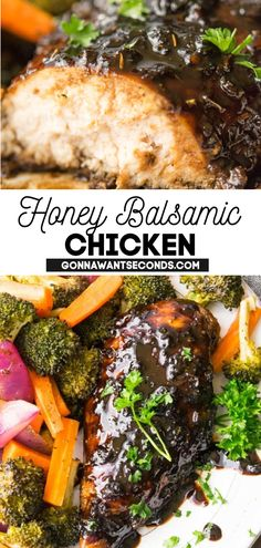 *NEW* This Honey Balsamic Chicken uses a long soak in the marinade to make the chicken super tender and juicy! The easy clean up of sheet pan chicken recipes is one of their best features. #SheetPanMeal #ChickenRecipe #HoneyBalsamicChicken #HoneyBalsamic #BalsamicChicken #EasyRecipes #ChickenDinner #WeeknightMeal