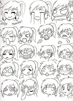 Draw Lesson: Draw you own Kawaii Chibi Manga Cartoon or Motion Draw.Here is How to draw Chibi Face Expressions. Chibi Mikuro Expressions by Mimi D Kawaii Drawings, Cartoon Drawings, Cute Drawings, Hipster Drawings, Pencil Drawings, Drawing Face Expressions, Drawing Expressions, Facial Expressions, Drawing Faces