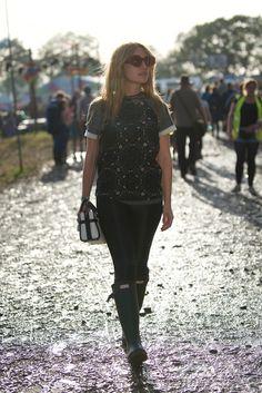 Josephine De La Baume at Glastonbury festival 2015 wearing Hunter Original boots