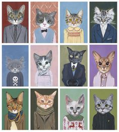Artist Heather Mattoon has created Cat in Clothes, a delightful series of cat paintings where each cat gets a name and a personality to fit its unique outfit.