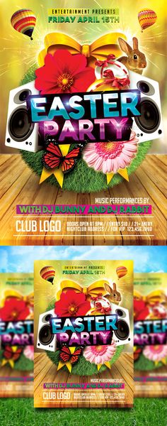 Easter #Party - Events #Flyers Download here: https://graphicriver.net/item/easter-party/19717099?ref=alena994