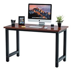Fineboard 47 Stylish Home Office Computer Desk Writing Table Elegant  Modern Design TeakBlack ** Continue to the product at the image link. #TableDesign