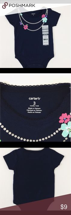 Carter's:  Navy Blue Onesie.    NWT Carter's   Size: 3 Months  NWT Navy blue onesie with a cute necklace that has a cute pear necklace and flowers. This item is really cute on and very soft.  I will package perfectly and with love.   From a non-smoking home. Carter's One Pieces Bodysuits