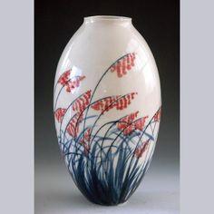 Porcelain vase pottery hand-made home decoration vase.. $105.00, via Etsy.