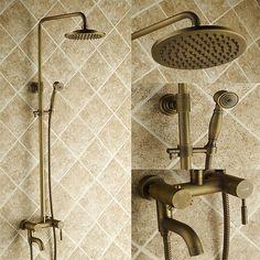 Antique Brass Tub Shower Faucet with 8 inch Shower Head + Hand Shower Bathroom Sink Taps, Shower Fixtures, Brass Bathroom, Tub And Shower Faucets, Brass Faucet, Small Bathroom, Bathroom Ideas, Bathrooms, Bronze Shower Head