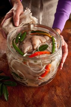 Hot Peppered Pickled Pig's Feet (The Whole Hog Cookbook by Libbie Summers, Photography by Chia Chong) Pickled Pigs Feet Recipe, Pickled Meat, Pickled Sausage, Recipe For Pigs Feet, Pickled Pork Hocks Recipe, Pickled Eggs, Canning Recipes, Pork Recipes, Antipasto