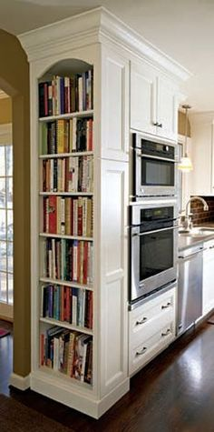 A Perfect Home Library? – Shelf Bookcase – Ideas of Shelf Bookcase A Perfect Home Library? – Shelf Bookcase – Ideas of Shelf Bookcase – A tall shelf built into kitchen cabinets keeps cookbooks reachable & their colorful spines Küchen Design, House Design, Design Ideas, Interior Design, Book Design, Cosy Interior, Ikea Design, Light Design, Design Color