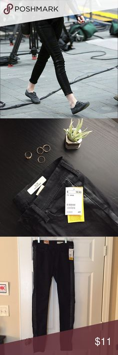NWT H&M Tuxedo Stripe Jeans Brand new with tags and never worn super cute tuxedo stripe style black jeans from H&M! Size 29x32, but Poshmark didn't have that size, so I listed them as a size 6! H&M Jeans Skinny