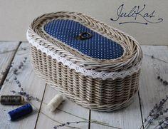 Wicker sewing basket with lid - Sewing basket ′In a pea′ - vintage basket - wicker box - Wicker Dresser, Wicker Mirror, Wicker Headboard, Wicker Shelf, Wicker Bedroom, Wicker Baskets, Wicker Man, Wicker Trunk, Wicker Sofa