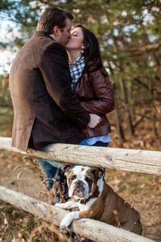 Engagement photos with dogs. Bulldog Saratoga NY engagement photos