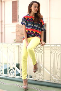tribal prints + colored jeans!