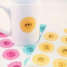 Cute+Round+Lace+Pattern+Sticker(Random+Colors)+–+USD+$+0.99