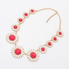 $6.51 Versatile Colored Flower Embellished Alloy Necklace For Women