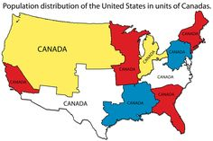 Population distribution of the United States in units of Canadas.