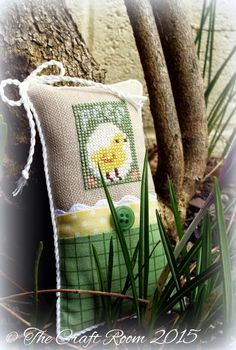 cross stitched Spring chick pillow ornament