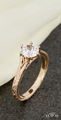 Petite Filigree Rose Gold Engagement Ring with Vintage Scroll Engraving. Green Lake Jewelry 106769