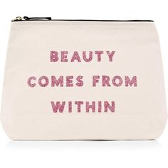 Alphabet Bags Beauty Comes From Within Wash Bag ($30) ❤ liked on Polyvore featuring beauty products, beauty accessories, bags & cases, natural, travel bag, toiletry kits, make up bag, makeup bag case and makeup purse