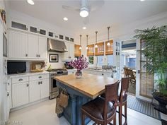 Vintage 1930's beach cottage - renovated coastal kitchen.  11th Ave South in Olde Naples, Florida
