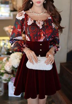Morpheus Boutique  - Burgundy Velour Floral Pattern Long Sleeve Off Shoulder Dress, $129.99 (http://www.morpheusboutique.com/new-arrivals/burgundy-velour-floral-pattern-long-sleeve-off-shoulder-dress/)