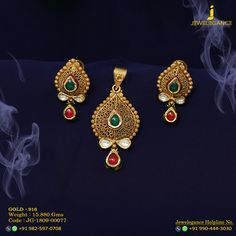 Gold 916 Premium Design Get in touch with us on Gold Jewellery Design, Antique Jewellery, Gold Jewelry, Indian Jewelry Sets, India Jewelry, Pendant Set, Gold Pendant, Brocade Saree, Works Shop