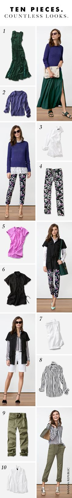 Start with 10 easy pieces and create 10 great new looks-and then some.  We've edited it down to the very best, most special and versatile pieces for spring. Floral pants, cool white shorts, easy dresses, fresh spring shirts and even a lacy blazer to mix and match. The options are endless, and suddenly, so is your spring wardrobe. Click to find more key spring pieces at Banana Republic.