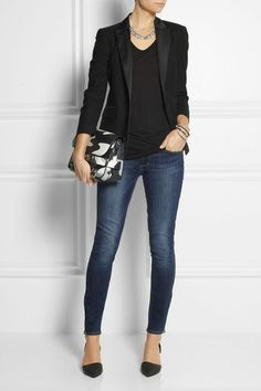 Love the black on black blazer, peeking ankles. Would not wear pointy shoes.