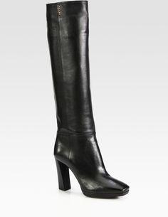 * Prada Leather Over The Knee Platform Boots