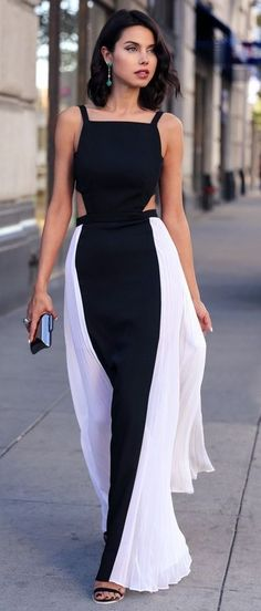 The monochrome maxi dress with cut out details is fit for a queen <3