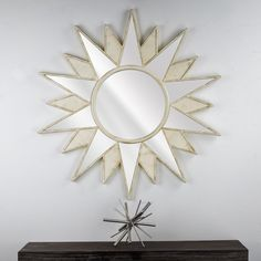 Bungalow Rose Dipaolo Starburst Framed Hanging Vanity Wall Mirror Finish: Off-White Wall Mirrors With Storage, Lighted Wall Mirror, Black Wall Mirror, Rustic Wall Mirrors, Tall Wall Mirrors, Wall Mirrors Entryway, Vanity Wall Mirror, Round Wall Mirror, Mirror Shelves