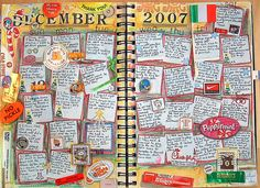 calendar scrapbooking.  This is so cute, but don't know if the entire journal is put together from scratch or if there is a source for purchasing the basic book.  If anyone knows, please share!