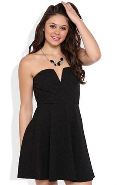 Deb Shops Strapless Texture Knit Peplum Dress with Plunge Bodice $35.00