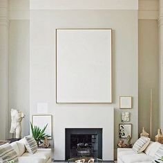 White Artwork on White Fireplace