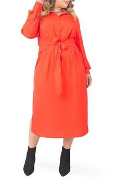 Fun yet polished, this printed front-button midi features a defining waist tie and a sultry side slit. Style Name:Standards & Practices Tie Waist Long Sleeve Midi Dress (Plus Size). Style Number: 6047613. Available in stores. Midi Dress Plus Size, Long Sleeve Midi Dress, Plus Size Fashion For Women, Plus Size Women, Mode Orange, Orange Dress, Dress Red, Robes Midi, Orange Fashion