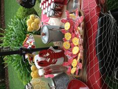Crawfish boil table (look at the cute cookies!)