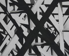 original charcoal drawing of structure of Charing X Bridge www.millbeckstudio.co.uk