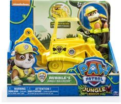 Paw Patrol Jungle Rescue Rubble's Jungle Dozer and Figure has working scoop and real working wheels. Get ruff ruff to the Jungle Rescue Paw Patrol Rescue, Paw Patrol Toys, Toy Cars For Kids, Kids Toys, Boy Car Room, Lunch Box Set, Unicorn Headband, Cool Toys, Hobbit