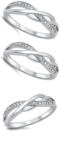Infinity Knot White CZ Promise Ring New .925 Sterling Silver Band Size 7 (RNG14507-7)