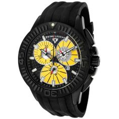 Men's Evolution Chronograph Black/Yellow Dial Black Silicone Swiss Legend. $126.87