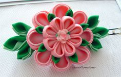 Handmade Kanzashi fabric flower grosgrain ribbon french barrette, hair…