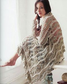 Magnífico chal horquilla crochet
