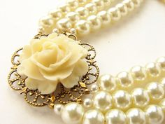 ivory rose and pearls