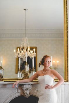 This classic bride had a gorgeous wedding accented in golds and 19th century inspired decor.  Click the photo to see more of this red-headed beauty and the details she chose for her wedding. // Jessica and Tom - Historic Bleak House - Knoxville, TN