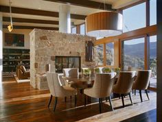 Double fire place to living and dining | Studio B Architects