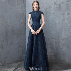 Chic / Beautiful Navy Blue Evening Dresses 2018 A-Line / Princess Lace Crystal Scoop Neck Backless Cap Sleeves Floor-Length / Long Formal Dresses Source by gysellabeltran dresses navy Cocktail Dresses With Sleeves, Long Cocktail Dress, Gowns With Sleeves, Cap Sleeves, Evening Cocktail, Evening Party, Grad Dresses Long, Blue Evening Dresses, Blue Dresses