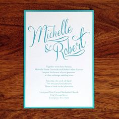 """Michelle & Robert"" Tiffany Blue Calligraphy Wedding Invitation."
