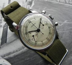 Lemania Chronograph In Stainless Steel Circa 1950s