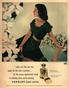Yardley of London's Yardley's English Lavender – Light and free you feel, eager for the day's surprises. Vintage Makeup Ads, Vintage Perfume, Vintage Beauty, Vintage Ads, Vintage Graphic, Dior Perfume, Hermes Perfume, Beauty Ad, Beauty Makeup