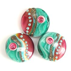 Blowing in the Wind  Pink Lampwork Glass Bead Set by sarahhornik, $39.00