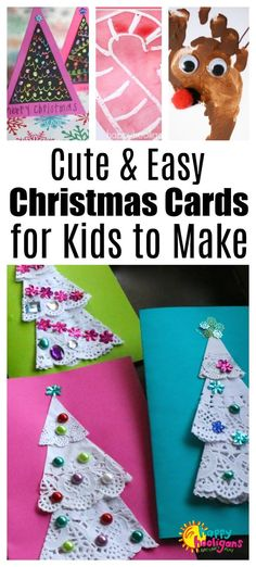 Cute and Creative homemade Christmas cards for kids to make. Easy minimal supplies and super-cute. Daycare Crafts, Easy Diy Crafts, Toddler Crafts, Creative Crafts, Preschool Crafts, Holiday Crafts, Fun Crafts, Simple Christmas Cards, Homemade Christmas Cards