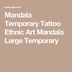 Mandala Temporary Tattoo  Ethnic Art  Mandala Large Temporary